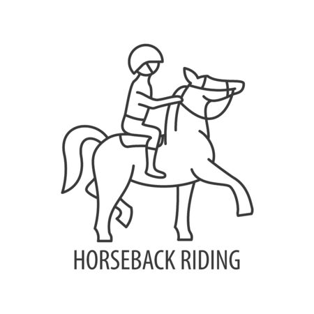horseback riding line icon