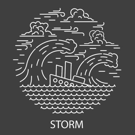 Storm Natural Disaster Illusztráció
