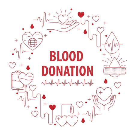 Donation Blood circle banner from line icons element. Vector illustration
