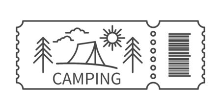 Ticket with barcode and Tourist tent in linear style. Banner for camping travel tour. Camping accommodation traveling. Vector illustration Ilustração