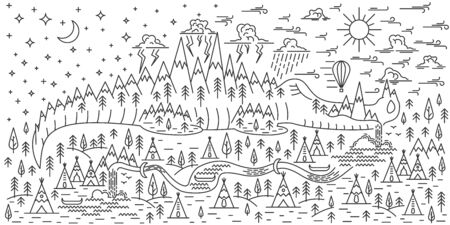 Horisontal banner with Mountains on crocodile, pine tree and waterfalls landscape on white background. Day and high sky. Doodle line style banner for camping. Vector illustration.