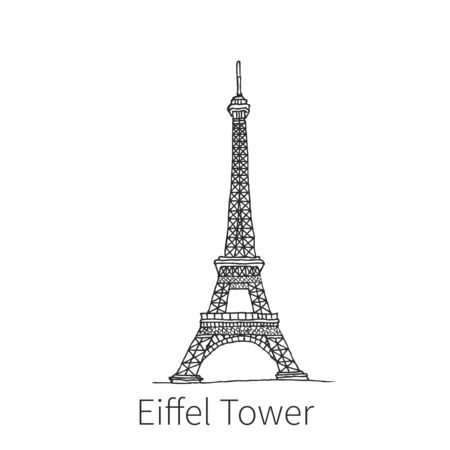 Famous Eiffel Tower drawing sketch illustration in France. Vector illustration Çizim