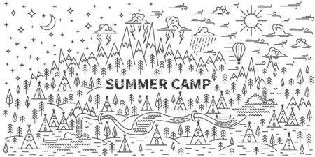 Banner for camping Illustration