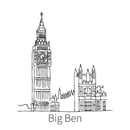 Big Ben drawing sketch Stock Illustratie