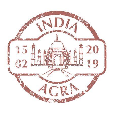 Taj Mahal on Grunge Postal Stamp Vettoriali