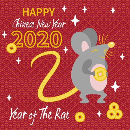 Cute gray Rat with gold coin Stock Illustratie