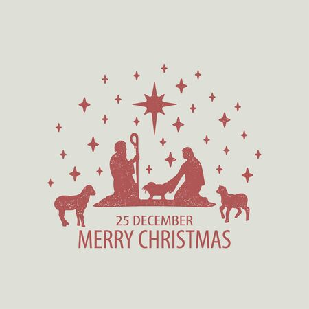 Grunge style Christmas card. Merry Christmas card with Nightly christmas cribe with Mary and Joseph with baby Jesus and sheep. Vector Illustration Stock Photo