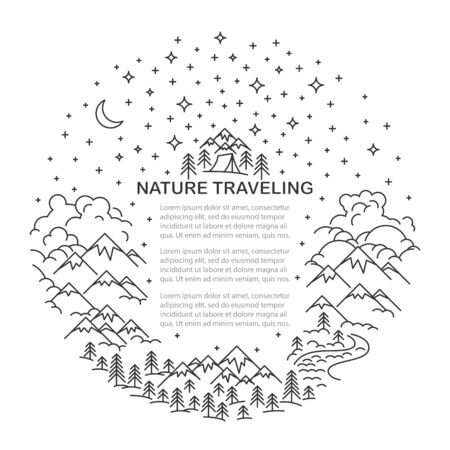 Circle banner with Mountains and hills, river and forest landscape on white background. Hight sky. With place for text. Flat line style Template for hiking tour. Vector illustration.