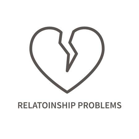 Brocken heart linear icon. Relationship problem for mental health. Facktor for suicide. Vector illustration