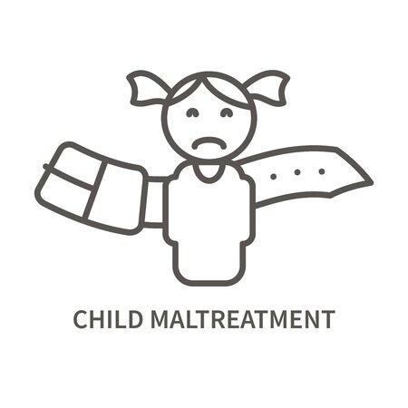 Child maltreatment linear icon. Facktor for suicide. Mental health problem. Vector illustration Çizim