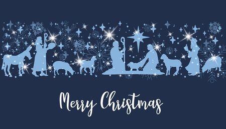 Birth of Christ scene Stock Vector - 133046441