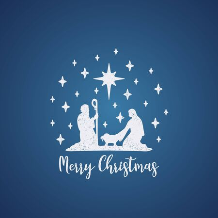 Grunge style Christmas card. White on blue background. Merry Christmas card with Nightly christmas cribe with Mary and Joseph with baby Jesus. Vector Illustration
