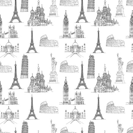 Famous places seamless pattern