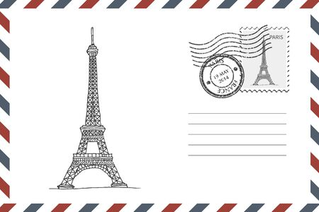 Envelope with hand drawn Eiffel Tower 스톡 콘텐츠 - 134161193