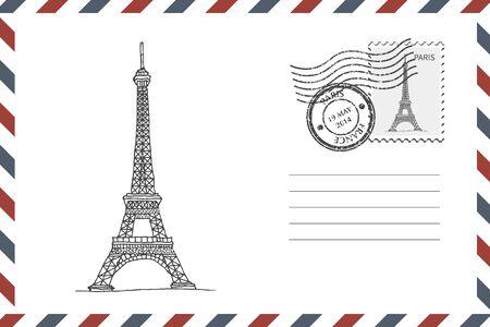Umschlag mit handgezeichnetem Eiffelturm