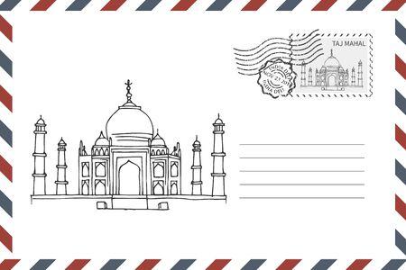 Envelope with hand drawn Taj Mahal in India