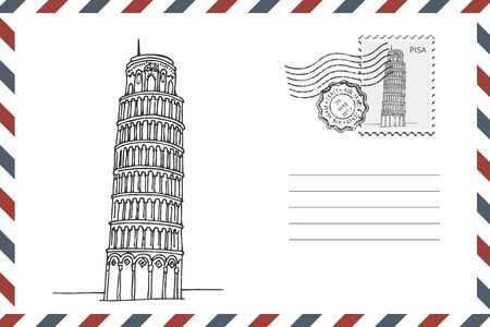 Envelope with hand drawn Leaning Tower of Pisa