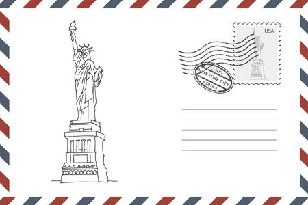 Envelope with hand drawn Statue of Liberty