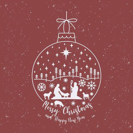 Christmas cribe scene on ball Ilustracje wektorowe