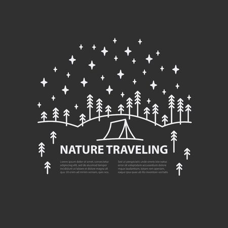 Circle banner with night sky, tent and fir forest landscape on black background. With place for text. Flat line style Template for hiking tour. Vector illustration.