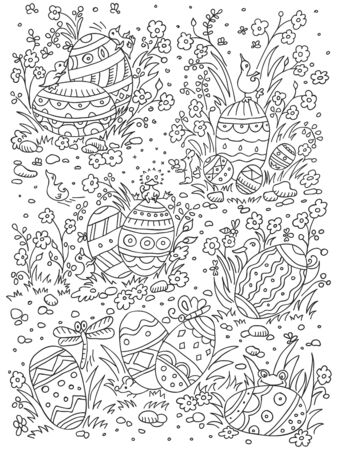 Easter background in doodle style with egg and duck, mouse and dragonfl. Hand drawn doodle poster. Vector illustration.