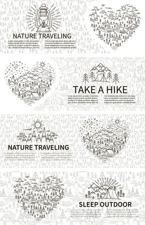 Horizontal banners set for Nature traveling in linear style. Sleep outdoor concep with pattern background. Hiking tour. Vector illustration