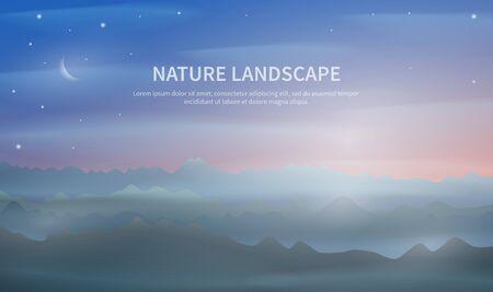 Misty Dawn in mountain Illustration