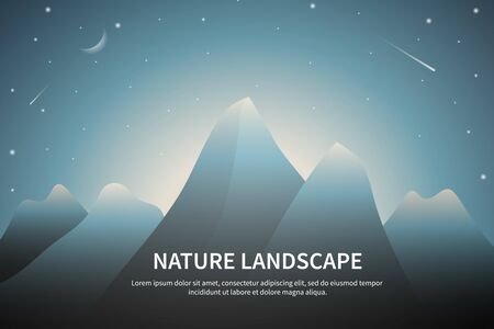 Big mountains landscape with hills and dawn sky with moon and star. With place for text. Vector illustration