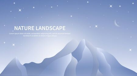 Blue mountains landscape. Dawn sky with moon and star. With place for text. Vector illustration Illustration