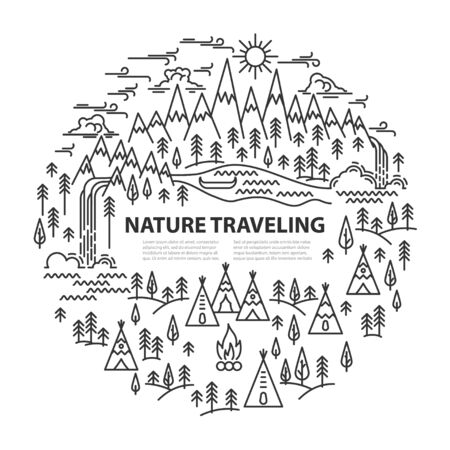 Tepee camp circle banner with place for text. Mountains and river, pine tree and two waterfalls landscape on white background. Line style template for summer camp. Vector illustration.