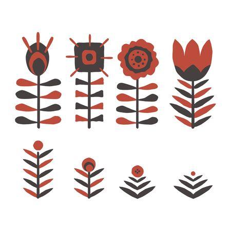 Paper cut scandinavian flowers