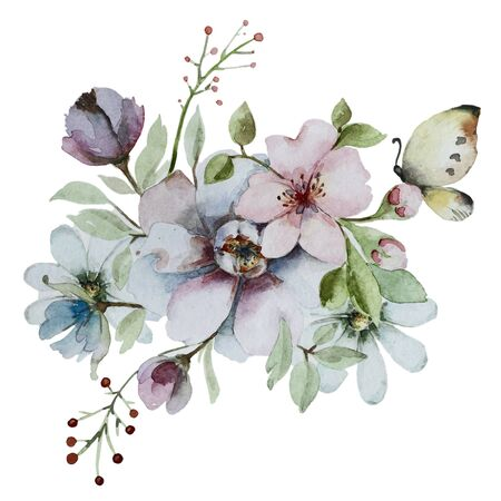 Watercolor abstract floral composition. Bouquet of flowers isolated on a white background. Perfect for wedding or birthday, Mother Day or Valentine.