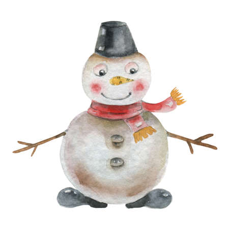 Snowman in watercolor Banque d'images
