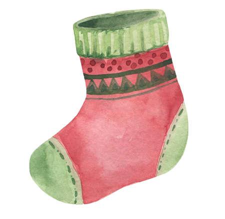 Christmas watercolor socks