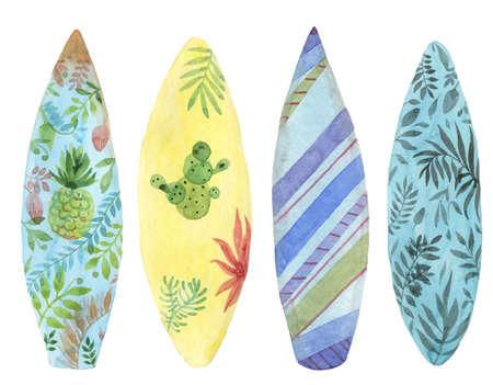 Watercolor surfing board set