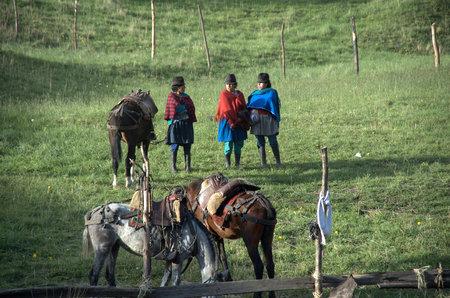 indios: corrida in small village in andes, ecuador