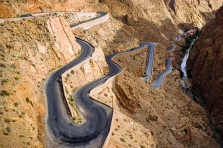 Winding road in Dades Valley, Morocco, Africa photo