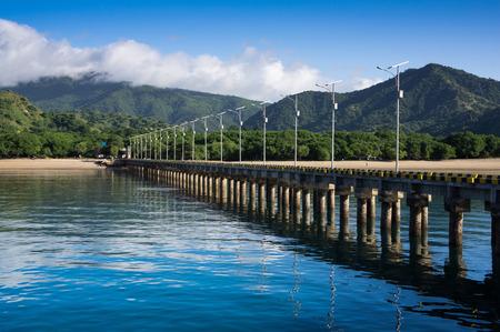 komodo island: The main pier on Komodo Island, natural habitat of the Komodo Dragon in East Nusa Tenggara, Indonesia. Stock Photo