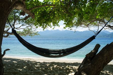 getting away from it all: Hammock between trees on beach, Bali, Indonesia, Southeast Asia, Asia
