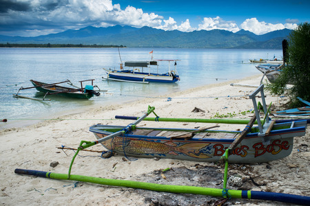 remoteness: Boats moored at Gili Air, of Lombok, Indonesia, Asia Editorial