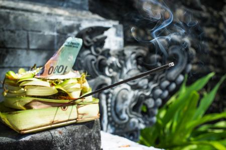 Hindu offering in Pura Batu Bolong Temple, south of Senggigi, Lombok, Indonesia, Southeast Asia, Asia photo
