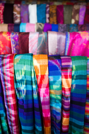 Balinese sarong for sale at market, Bali, Indonesia, Asia photo