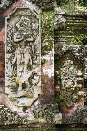 diabolic: Ancient Balinese Temple Sculpture, Indonesia, Bali Stock Photo