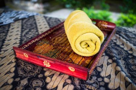 Outdoor massage mattress at resort. Bali Indonesia.