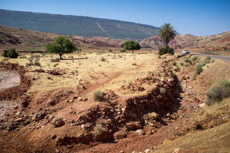 ballad: Car on the road in Zat Valley in the High Atlas Mountains, Morocco, Arrica Stock Photo
