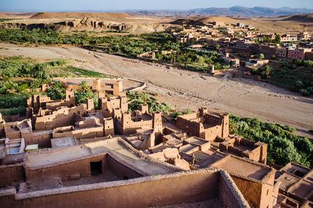 dawns: View from Ait Benhaddou Kasbah at dawn, Morocco, High Atlas Mountains, ksar Ait Benhaddou, Ouarzazate Province, Souss-Massa-Draa region, Morocco, Africa,