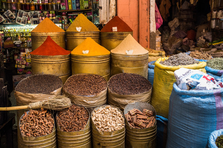suq: Africa, North Africa, Morocco, Marrakech, Medina, Place des Ferblantiers, Bazaar, Herbs and Spices Display Editorial