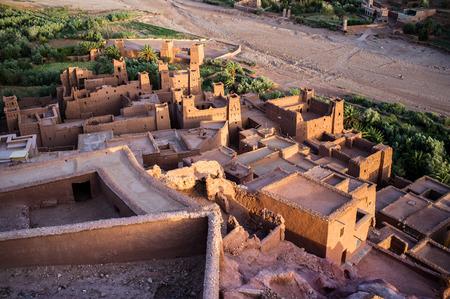 dawns: View from Ait Benhaddou Kasbah at dawn, Morocco, High Atlas Mountains, ksar Ait Benhaddou, Ouarzazate Province, Souss-Massa-Draâ region, Morocco, Africa,