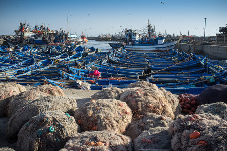 famous industries: Small boats in the harbour of Essaouira Morocco