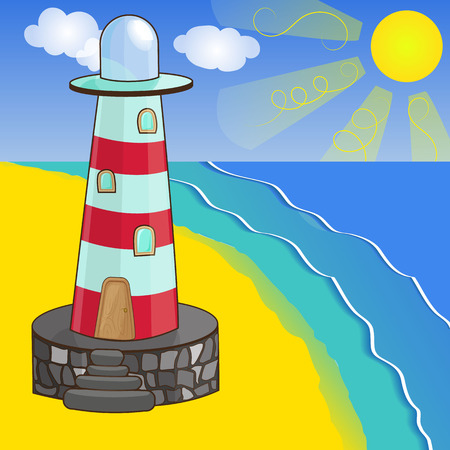 sandy: illustration of lighthouse on the sandy seashore